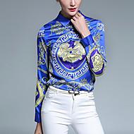 Women's Casual/Daily Vintage All Seasons ShirtPrint Shirt Collar Long Sleeve Blue Polyester Medium