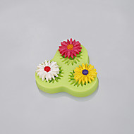 Wholesale 3cavity flower gerbera shape silicone fondant molds for cake decorating