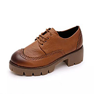 Women's Oxfords Spring / Summer / Fall Comfort / Round Toe Cowhide Outdoor / Casual Low Heel Lace-up