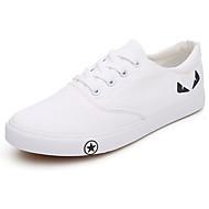 גברים-נעלי ספורט-קנבס-נוחות-שחור / לבן-שטח / קז'ואל-עקב שטוח