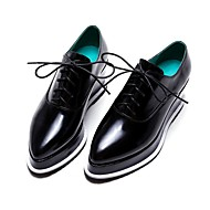 Women's Oxfords Spring Fall Comfort PU Casual Wedge Heel Lace-up Black Blue Almond Others