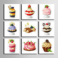 E-HOME® Stretched Canvas Art Dessert Decoration Painting  Set Of 9