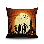 Halloween Night Square Linen  Decorative Throw Pillow Case Cushion Cover