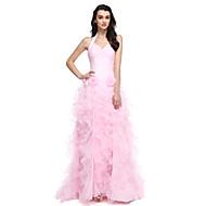 Formal Evening Dress Ball Gown Halter Court Train Organza with Flower(s) / Split Front / Ruching