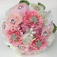 """Bouquets de Noiva Redondo Rosas / Peônias Buquês Casamento / Festa / noite Cetim / Strass 9.84""""(Aprox.25cm)"""
