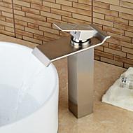 Moderne Centersat Vandfald with  Keramik Ventil Enkelt håndtag Et Hul for  Nikkel Børstet , Håndvasken vandhane