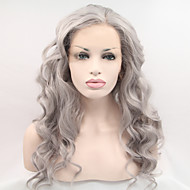 실비아 합성 레이스 프런트 가발은 회색 머리의 내열성 긴 머리 웨이브 형 18-26inch 합성 가발