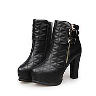 נשים-מגפיים-PU-נוחות-שחור / בז'-שמלה / קז'ואל-עקב עבה