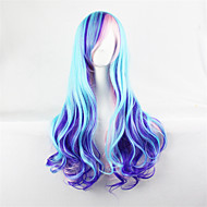 Kobieta Peruki syntetyczne Długo Falowane Niebieski Halloween Wig Karnawałowa Wig cosplay peruka Costume Peruki