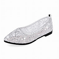 Bling Gold/Silver Women's Flats Comfort Pointed Toe Tulle Ballet Shoes Heels Dress/Casual