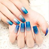 24pcs / set nagel strips knipperen poeder blauw kleurverloop charmant en sexy