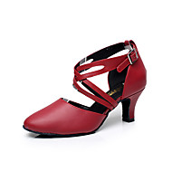 Customizable Women's Dance Shoes Leather Leather Latin Sandals Low Heel Practice / Beginner / Professional / Indoor / PerformanceBlack /