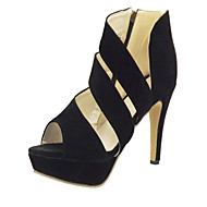 Women's Spring Summer Fall Platform Synthetic Dress Stiletto Heel Platform Ribbon Tie Black