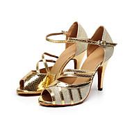 Sapatos de Dança(Preto / Dourado) -Feminino-Personalizável-Latina / Salsa