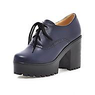 Oxford-kengät-Leveä korko-Naisten-PU-Musta Sininen Keltainen Punainen Beesi-Toimisto Rento-Comfort