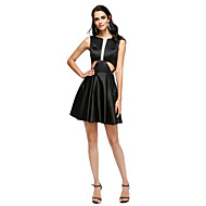 TS Couture Cocktail Party Prom Dress - Little Black Dress A-line Jewel Short / Mini Stretch Satin with Pleats