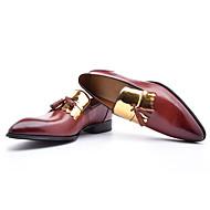 Masculino Mocassins e Slip-Ons Conforto Sapatos formais Pele Outono Festas & Noite Conforto Sapatos formais Cadarço Rasteiro Preto Marron