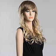Bang longue incliné pelucheux ondulée perruque de cheveux humains