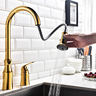 Modern Pull-out/Pull-down Widespread Rotatable with  Ceramic Valve Single Handle Two Holes for  Ti-PVD  Kitchen faucet
