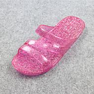 Pantofle a Žabky-Guma-S páskem-Dámské-Růžová / Champagne-Běžné-Plochá podrážka