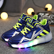 Sneakers-PU-Originale Light Up Sko-Drenge-Sort Blå Hvid-Fritid-Flad hæl