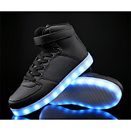 LED Light Up Shoes,Boy's Sneakers Spring / Fall Comfort PU / Cowhide Athletic Flat Heel Others/ Lace-up Black / Blue / White Sneaker