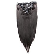 7 יח / קליפ להגדיר תוספות שיער 18inch 14inch שחור טבעי 100% שיער אדם לנשים