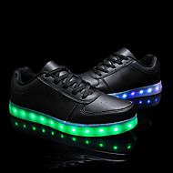 Unisex Sneakers Spring Summer Fall Winter Comfort Light Up Shoes Leather Outdoor Casual Athletic Low Heel Lace-up Black White Walking