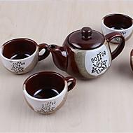 Classic Coffee Mugs Ceramic Tea Cups Set (1 Pot 4 Cups with Cup Holder Random Colors)