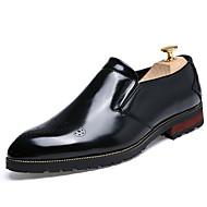 גברים-נעליים ללא שרוכים-עור-נוחות-שחור חום זהב בורגונדי-יומיומי-עקב שטוח