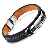 Муж. Кожаные браслеты Нержавеющая сталь Кожа Мода Геометрической формы Черный Бижутерия 1шт