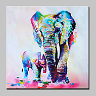 Hand Painted Mother And Baby Elephan Oil Painting On Canvas Modern Wall Art Picture For Home Decoration With Stretched Frame Ready To Hang