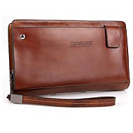 Men Clutch Cowhide Casual Office & Career Brown