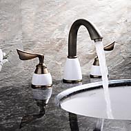 現代風 / アンティーク調 / 近代の 組み合わせ式 ワイドspary with  セラミックバルブ 二つのハンドル三穴 for  アンティーク銅 , バスルームのシンクの蛇口