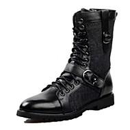 Mary Jane-Lapos-Női cipő-Csizmák-Szabadidős Alkalmi-Bőr-Fekete