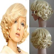 Kvinder Kort Gyllen Blond Bølgete Syntetisk hår Cosplay-parykk Halloween parykk Karneval Parykk