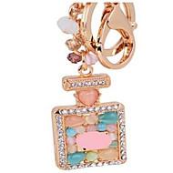 bouteille de parfum clé de voiture dame de la chaîne de petits ornements en pierre oeil pendentif en métal chat s '- clé de couleur