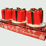 נר חג המולד 3pcs צורת מתנה קטנה וחמודה