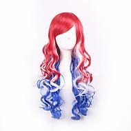 여성 스타일의 빨간색 파란색, 흰색 옹 브르 기능 소재 가발 색 의상 가발 코스프레 가발을 표시