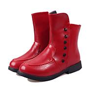 לבנות-מגפיים-PU-נוחות-שחור אדום לבן-שטח יומיומי-עקב שטוח