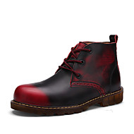 Men's Boots Spring Fall Others Leather Casual Flat Heel Lace-up Blue Brown Gray Burgundy Others