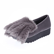Women's Flats Spring / Fall / Winter Comfort Leather Casual Platform Fur Black / Green / Gray Others
