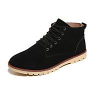Herre-PU-Flat hæl-Komfort-Støvler-Fritid-Svart Brun Grå