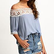 Dames Eenvoudig Lente / Herfst T-shirt,Casual/Dagelijks Effen Boothals Lange mouw Blauw / Wit / Zwart Polyester Medium
