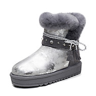 Women's Boots Spring / Fall / Winter Comfort Cowhide / Glitter Outdoor / Athletic / Casual Flat Heel Sparkling Glitter / Fur Silver / Gold