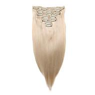 7 יח / קליפ להגדיר תוספות שיער להלבין שיער אדם בלונדיני 18inch 14inch 100% לנשים