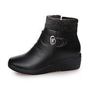 Women's Boots Fall Winter Comfort PU Casual Flat Heel Zipper Black Brown Walking