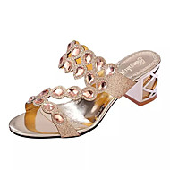 Women's Slippers & Flip-Flops Summer Comfort PU Dress Chunky Heel Crystal / Crystal Heel Black / Rose Gold