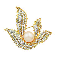 Elegant Imitation Pearl Rhinestone Flower Wedding Brooches for Women