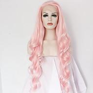 Kvinder Syntetiske parykker Blonde Front Lang Krop Bølge Pink Natural Hairline Midterskilning Naturlig paryk Halloween Paryk Carnival